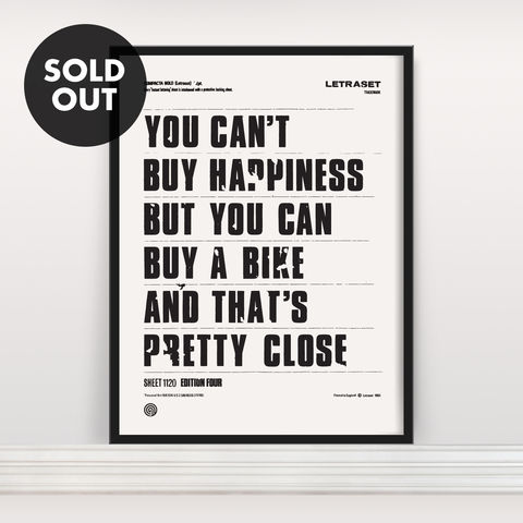You,Can't,Buy,Happiness,-,Screen,Print,Edition,4,Screen Print, Typographic Poster, You Can't Buy Happiness