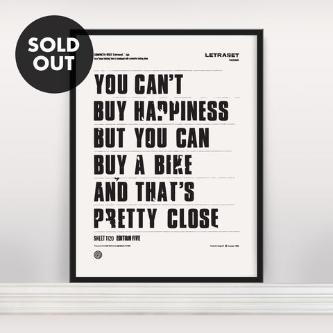 You,Can't,Buy,Happiness,-,Screen,Print,Edition,5,Screen Print, Typographic Poster, You Can't Buy Happiness