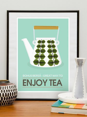 Stig,Lindberg,Scandinavian,Kettle,Kitchen,Print,-,Great,Way,to,Enjoy,Tea,(A3),kitchen, print, stig lindberg, scandinavian, mid century, modern, tea, coffee, retro, vintage, poster, illustratio, typography,