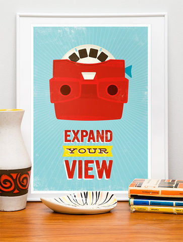 Expand,your,Views,viewmaster, pop art, retro, vintage, mid century, illustration, positive, quote, typography
