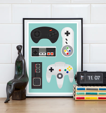 Retro,Video,Game,Poster,,SNES,print,,Nintendo,poster,video game poster, geekery print, retro poster, game controller, man cave art, nursery art, play room decor, sega mega drive, sega master system, nintendo art, NES