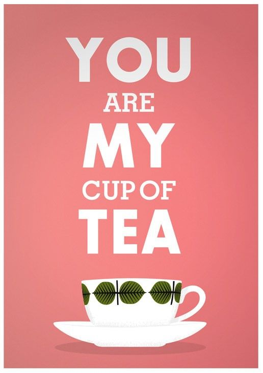 Print Tea cup art  Love  Valentine print typography poster  Stig Lindberg  -  You are My Cup of Tea A3 - product images  of