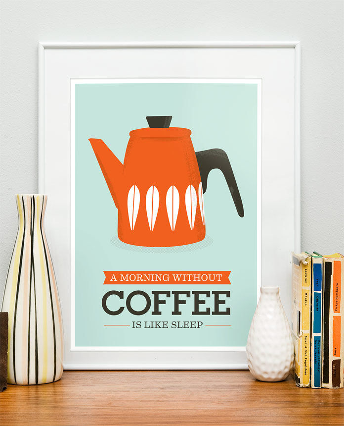Kitchen art Print Coffee Cathrineholm  retro  mid century modern inspired kettle art poster A3 size - product images  of