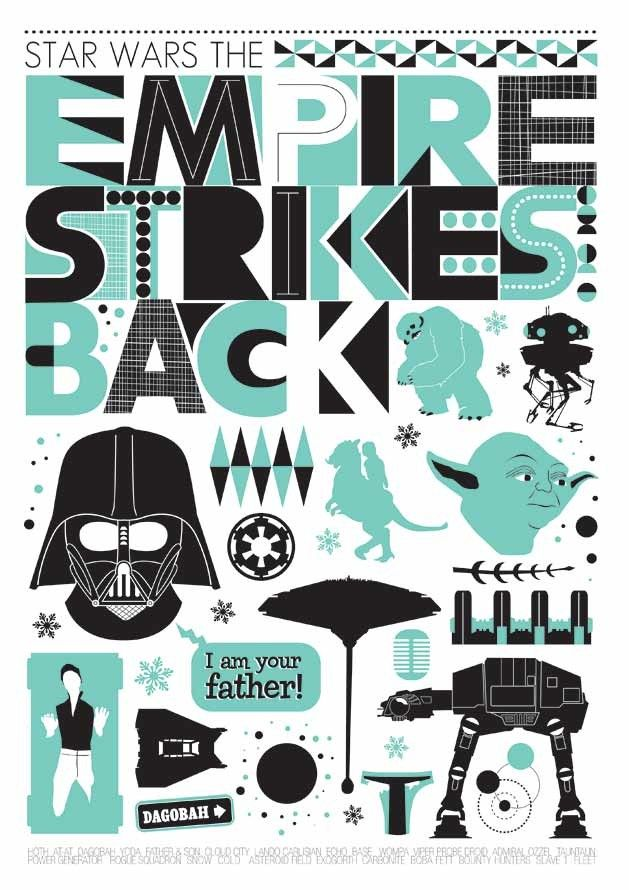 Star Wars print  movie  poster  Star Wars  - The Empire Strikes Back - Retro  Scandinavian style - product images  of