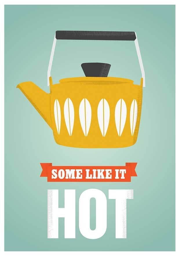 Tea Print   Coffee poster  Coffee pot Cathrineholm - Some Like it Hot  retro art   A3 - product images  of