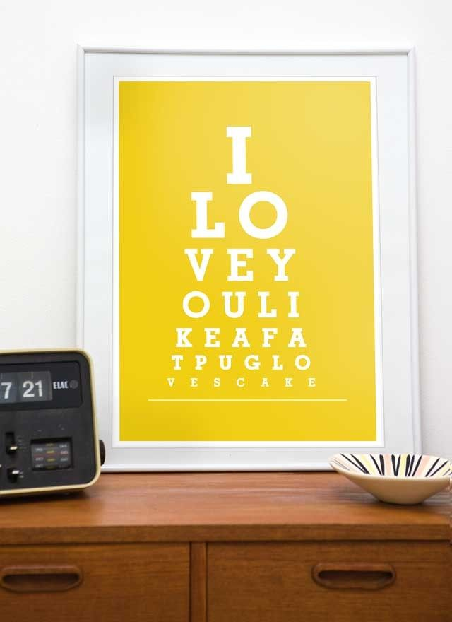 Typography print eyechart poster  Pug art - I love you like a fat pug loves cake  A3 or A4,