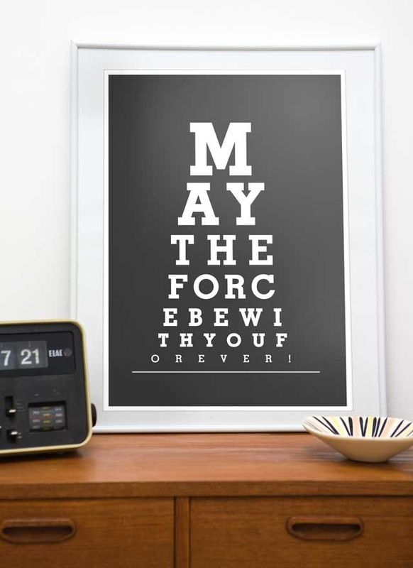 "Star Wars  print  typography art poster   Eye Chart  -  May the force be with You  A3 or A4 ""11x 14"" or ""8 x 10"" - choose your color - product images  of"