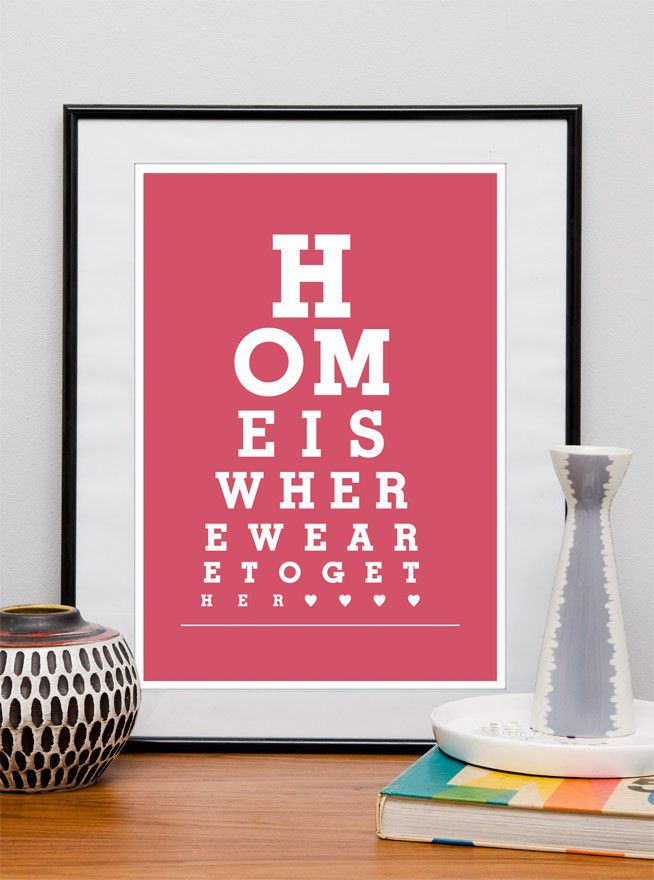 Typography print  Home decor eyechart poster - Home is where we are together A3 or A4 - product image