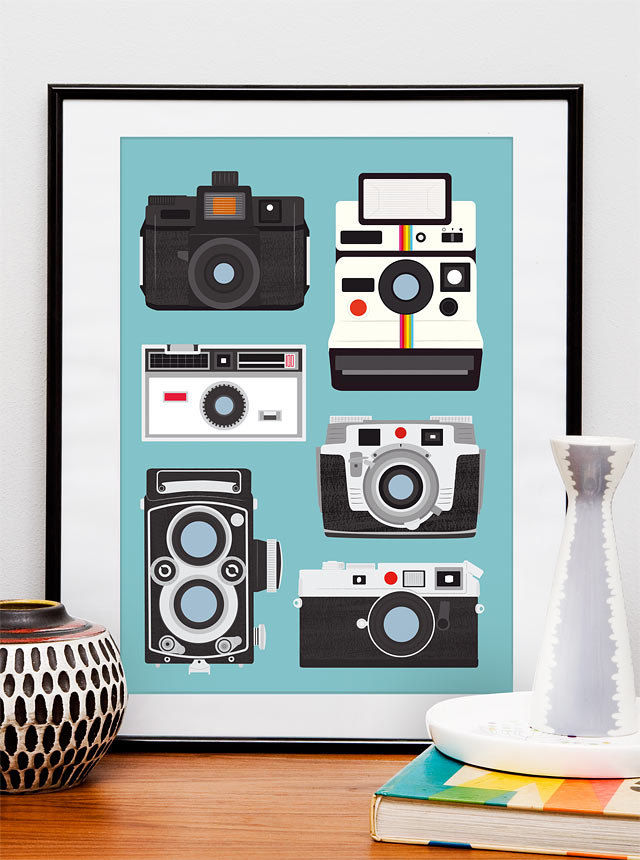 Polaroid camera print wall decor Nursery  print  Camera poster - Polaroid, Rolleiflex, Holga  A3 size Baby blue - product images  of