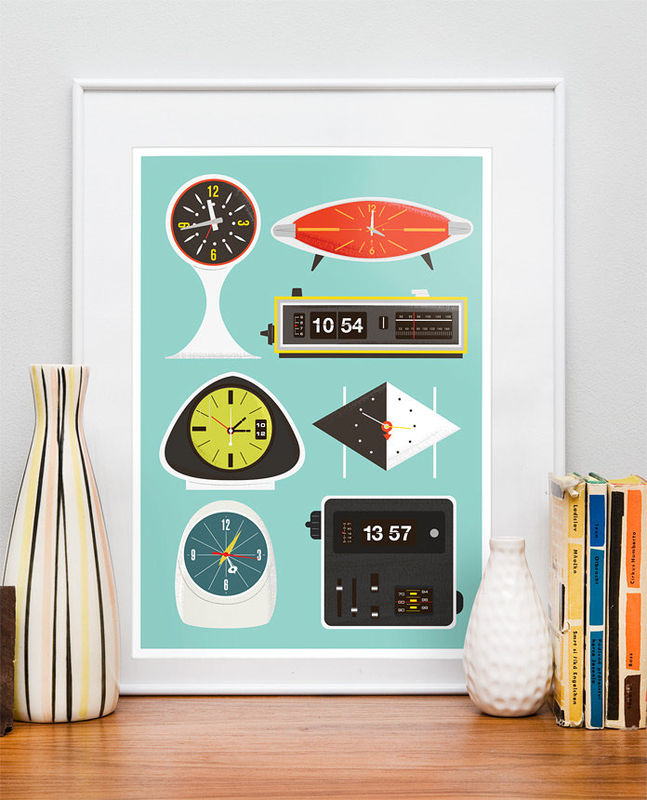 mid century modern art print modernist clock poster baby nursery art print flip clock george. Black Bedroom Furniture Sets. Home Design Ideas