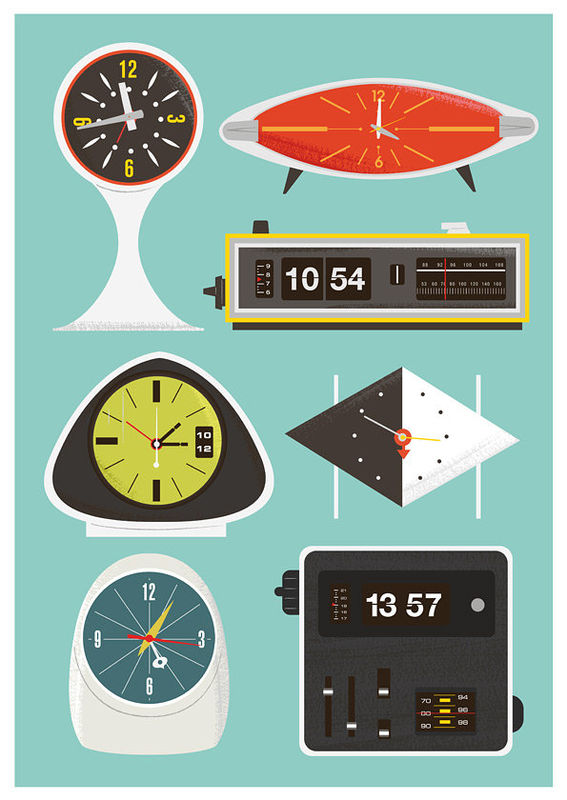 Mid Century modern art  print  modernist  Clock poster  Baby nursery art print   -  flip clock, George Nelson, Atomic clock   A3 size - product images  of