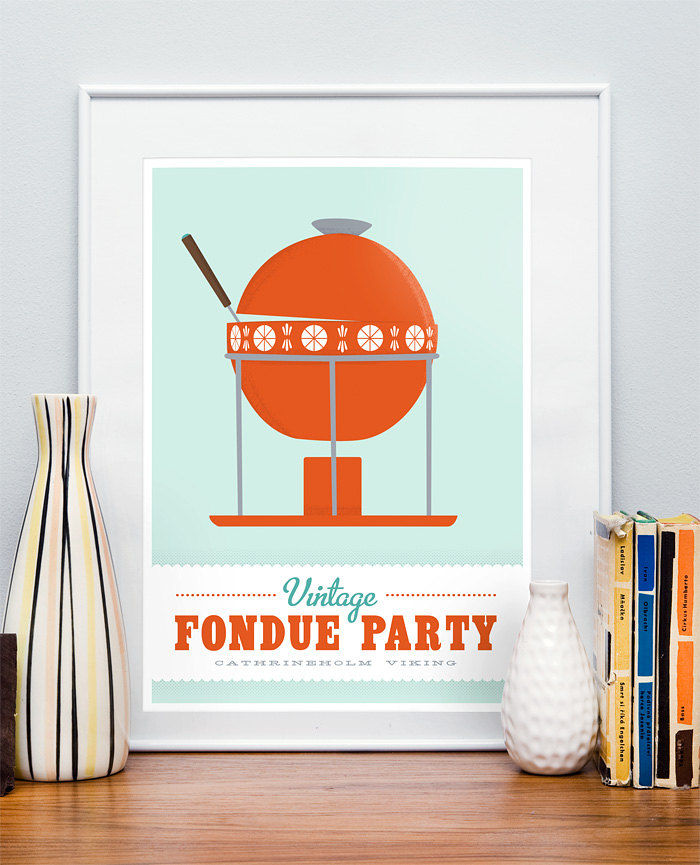 Kitchen art print   Mid century retro poster    Cathrineholm - Vintage fondue party  A3 - choose color - product image