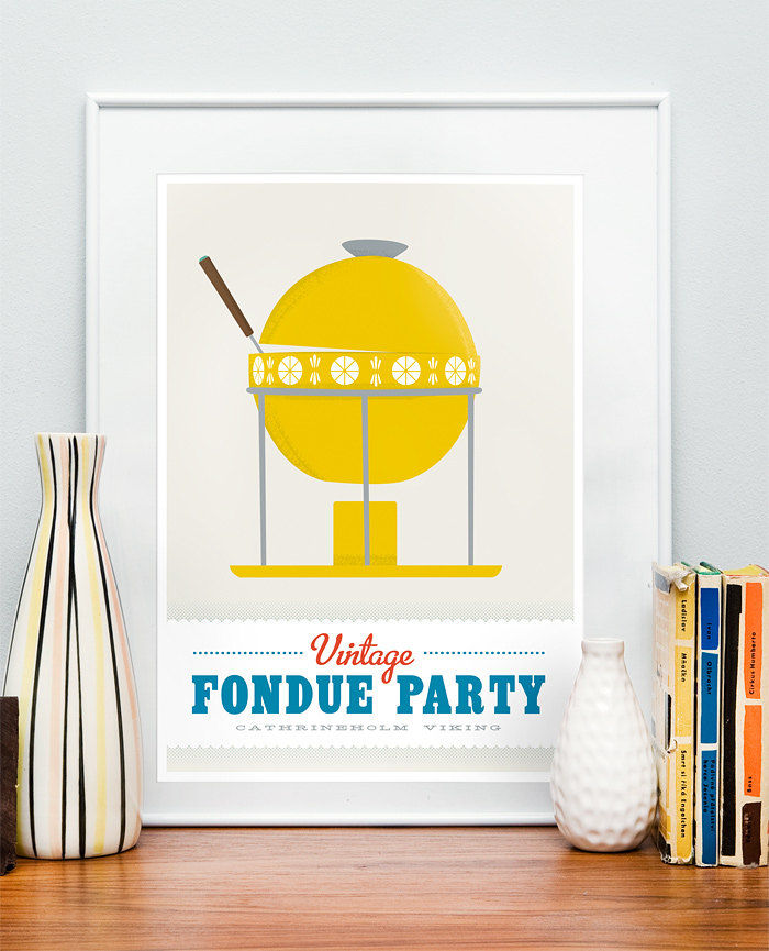 Kitchen art print   Mid century retro poster    Cathrineholm - Vintage fondue party  A3 - choose color - product images  of
