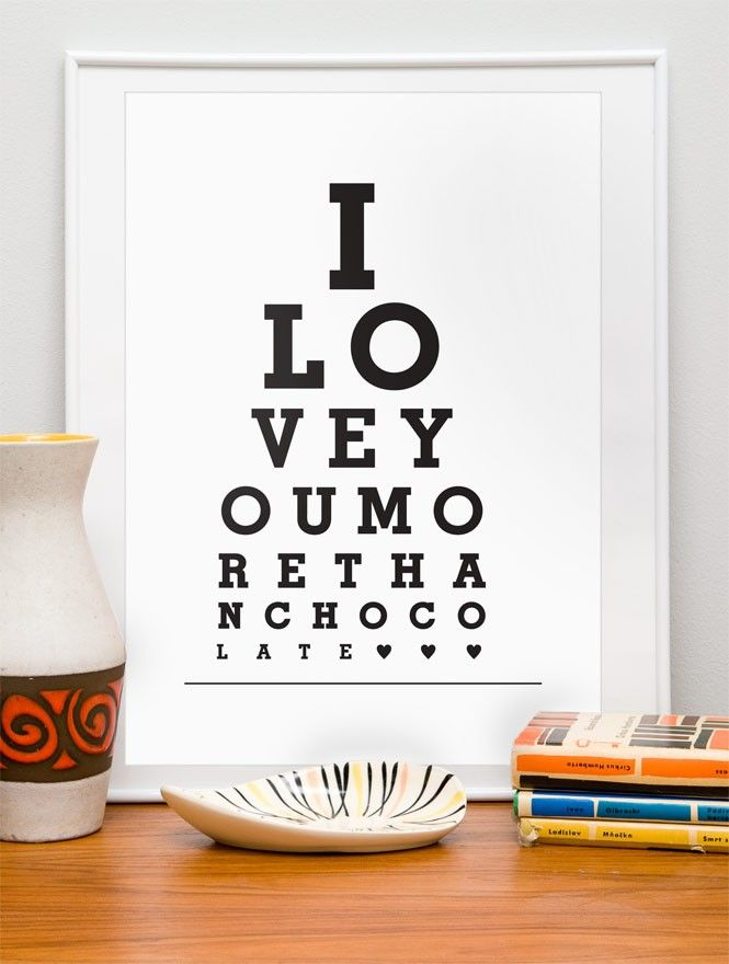 Typography poster eyechart art print -I love you more than chocolate a3 A3 or A4