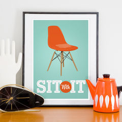 Eames,Poster,print,Mid,century,modern,art,Inspirational,quote,-,Sit,with,It,A3,size,Art,Print,poster,eames_poster,eames_print,mid_century_modern,eames_era,danish_modern,inspirational,typography_print,eames_chair,inspirational_art,eames,cathrineholm,paper