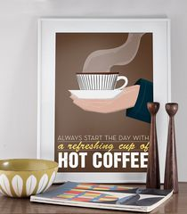 Coffee,print,typography,poster,mid,century,art,-,Stig,Lindberg-,hot,coffee,Scandinavian,design,retro,a3,Art,Coffee_print,typography_poster,teacup,coffe_cup,illustration,vintage,cathrineholm,scandinavian_design,mid_century_art,brown,paper