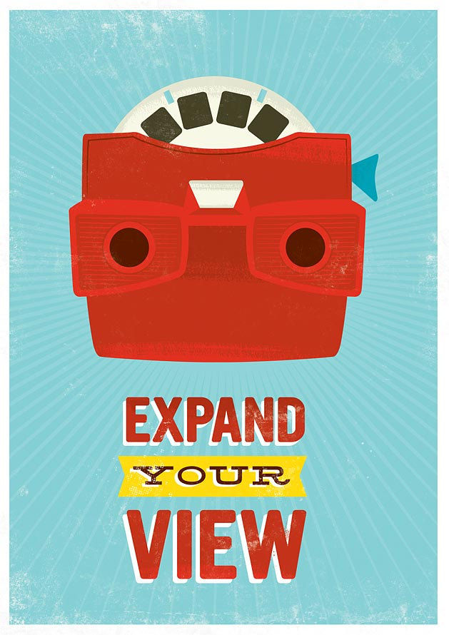 Baby nursery art wall decor retro poster - Viewmaster - Expand your view 8 x 11 or A4 - product images  of
