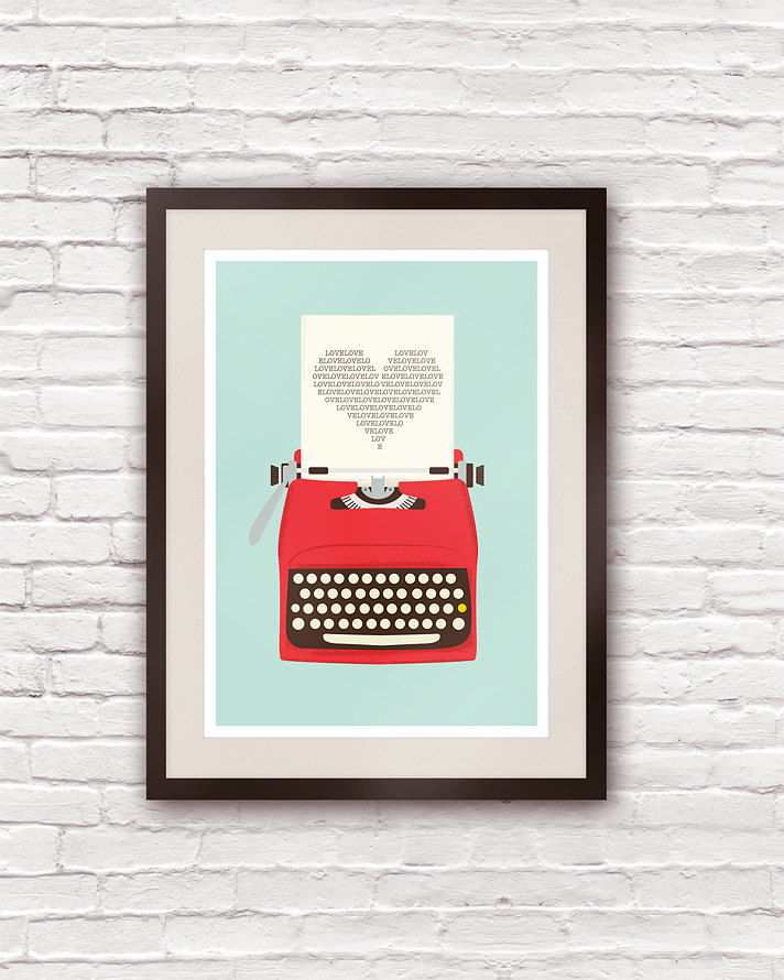 Vintage Typewriter Poster Love Print Typography art   A3 - product images  of