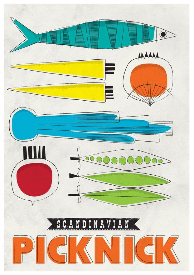 Art for Kitchen Mid century art print  Wall decor  retro  poster - Scandinavian picknick A3 - product images  of