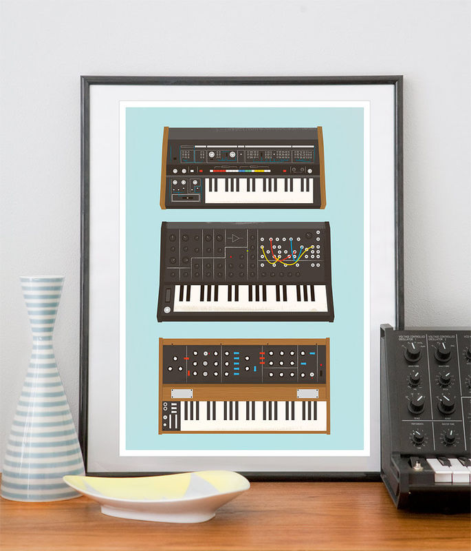 Retro Geek Print Analog Synthesizer Poster Music poster Nerd geek Retro print - Minimoog, roland, Korg A3 - product images  of
