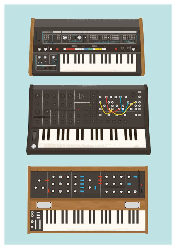 retro synthesizers poster