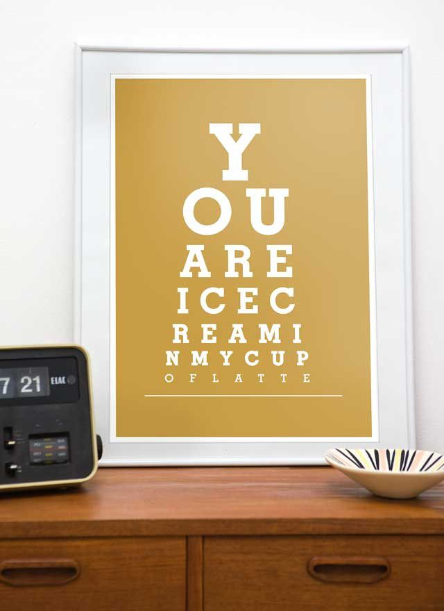 Coffee print typography wall art - You are Ice cream in my cup of latte - A3 or A4 - product image