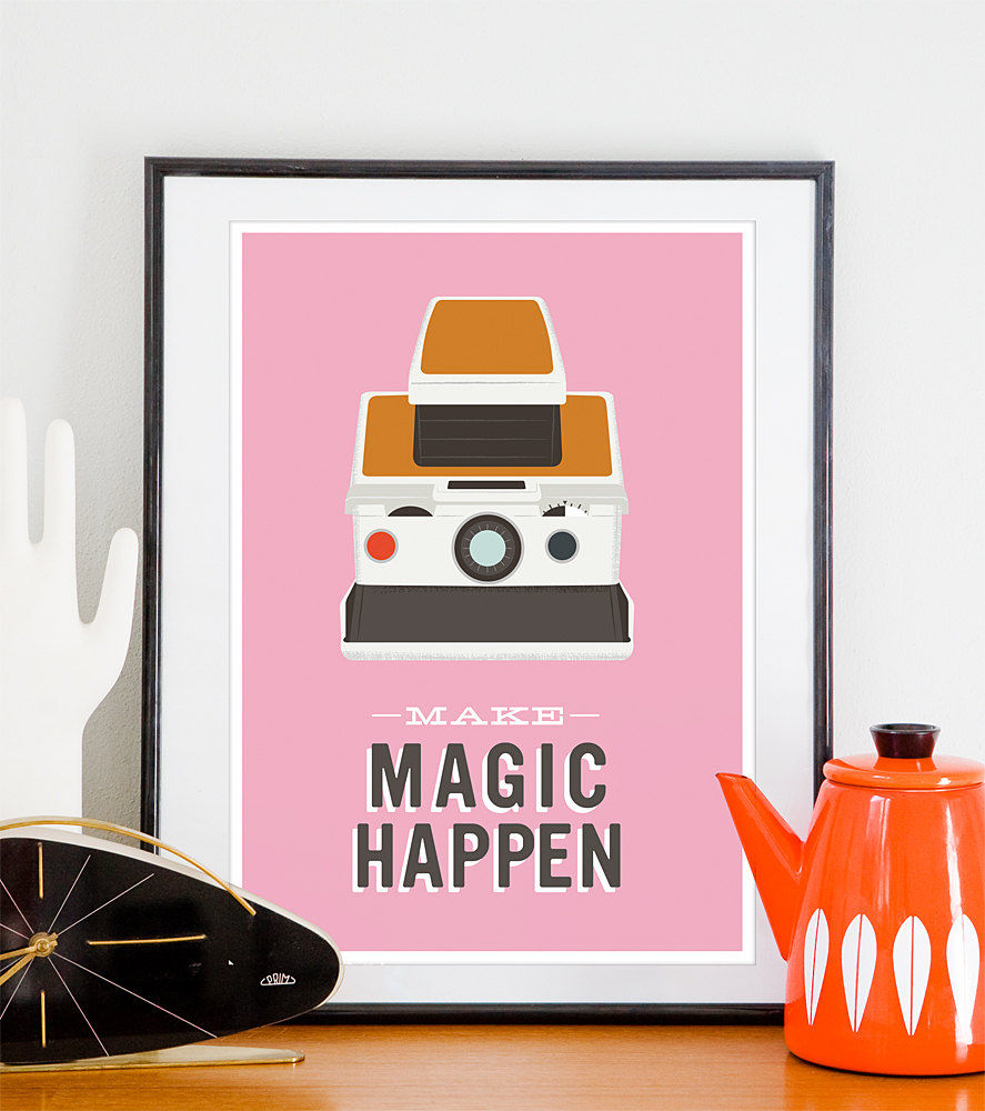 Polaroid Camera Poster camera print  Inspirational Quote art  - Make Magic Happen A3 Pink - product image