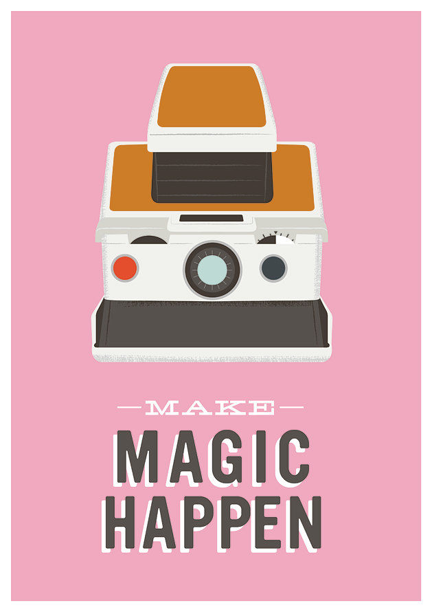 Polaroid Camera Poster camera print  Inspirational Quote art  - Make Magic Happen A3 Pink - product images  of