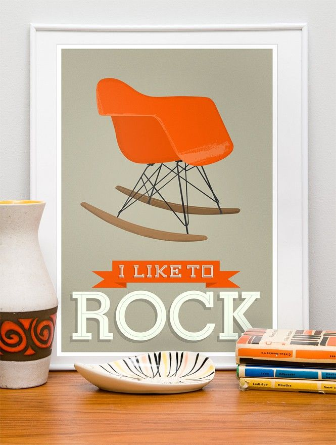 Nursery print Retro Poster mid century art  -  Eames rocking chair - I Like to Rock -  Vanilla, A2 size - product image