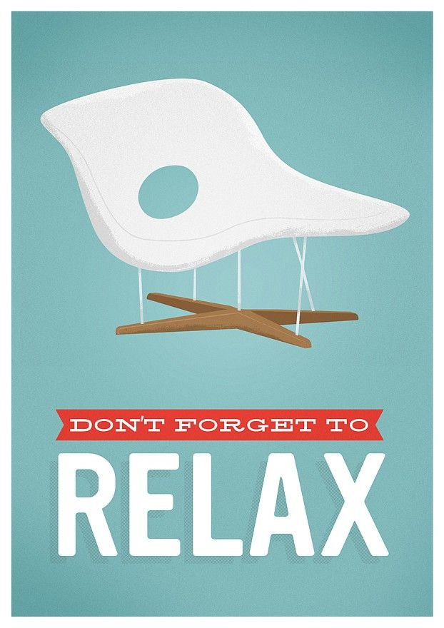 Eames Poster print Mid century  Office decor poster  Retro art print dont forget to relax a3 - product images  of