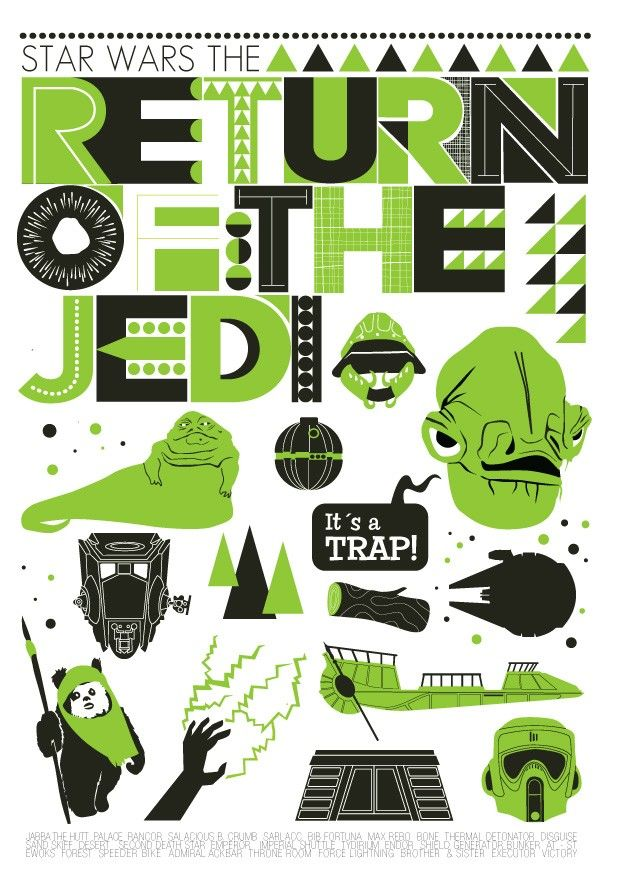 Star Wars  movie poster Nursery art  Return Of The Jedi - Retro  Scandinavian style  A2 - product images  of