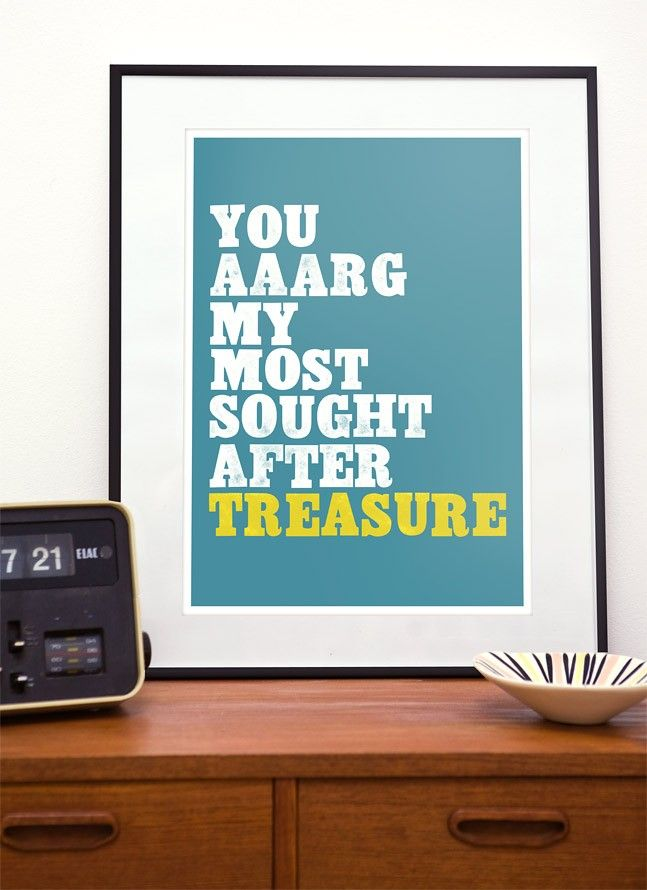 Typography print   Nursery wall decor Pirate Love poster - Letterpress style A3