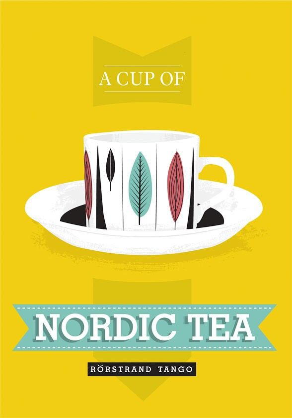 Tea cup  print kitchen art poster    - Nordic Tea  Rorstrand scandinavian retro - product images  of