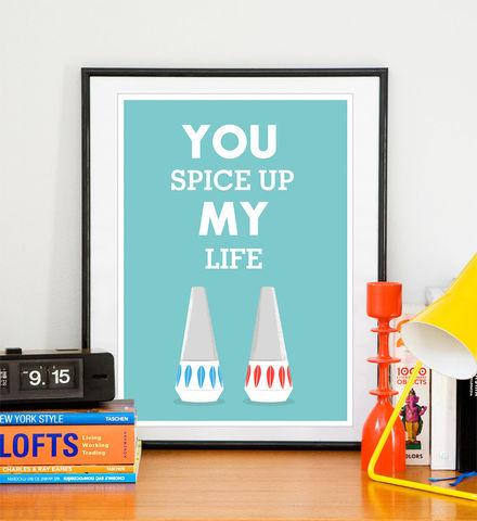 Cathrineholm,poster,Love,print,Scandinavian,art,Inspirational,quote,-,You,spice,Up,my,Life,A4,or,8,x,10,Art,Print,cathrineholm,scandinavian,love,typography_print,quote_print,inspirational_art,mid_century_modern,retro,art_for_kitchen,friendship,anniversary_gift,kitchen,paper