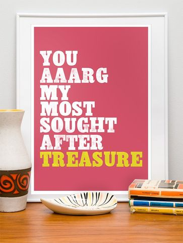 Letterpress,style,print,typography,art,pirate,poster,-,Pirate,Love,A3,pPINK,Art,Print,mid_century_modern,love,valentines_day,letterpress,words,typography_print,typography_poster,quote,pink,nursery,paper