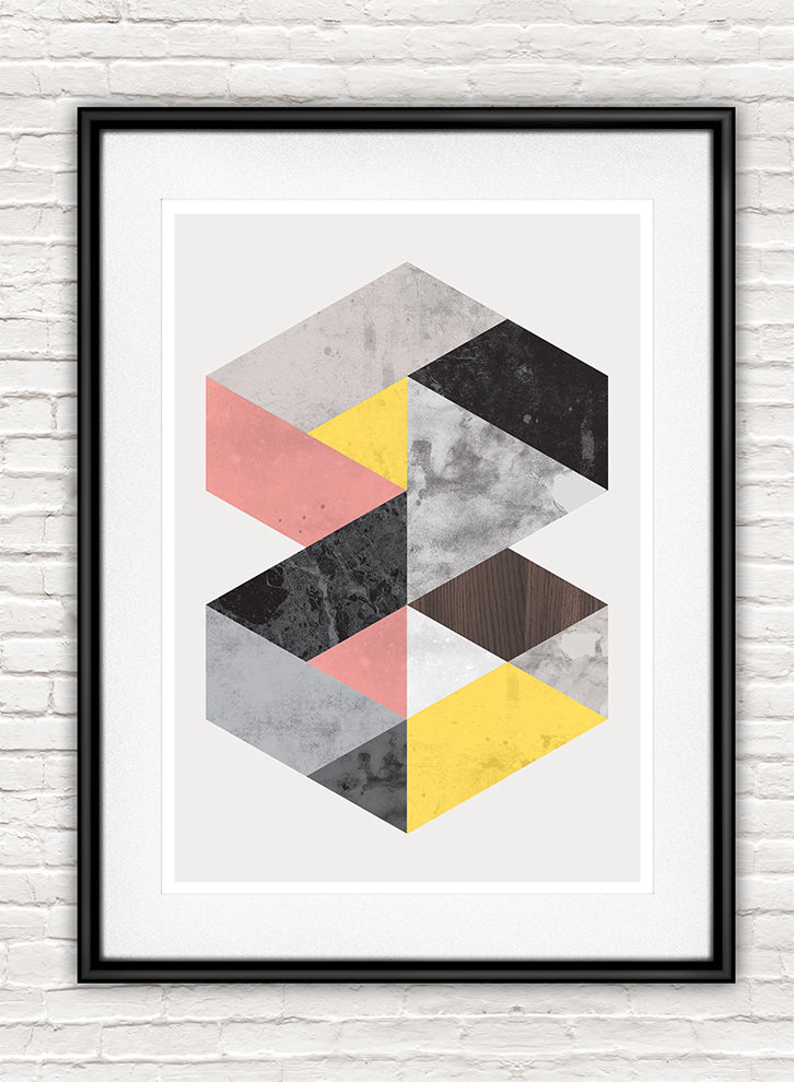 Geometric marble abstract print, Minimalist modern wall art - product images  of