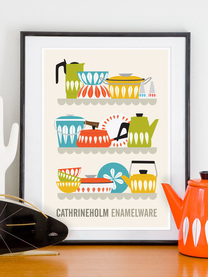 Cathrineholm kitchen print, retro midcentury modern poster - product image