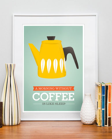 Coffee,print,,Cathrineholm,quote,Kitchen,poster,Kitchen decor, kitchen print, home decor, scandinavian poster, stig lindberg, cathrineholm, scandinavian design, retro poster, retro kitchen art, colorful art, quote print, inspirational art, motivational print, eames poster, tea poster, cooking art, pear