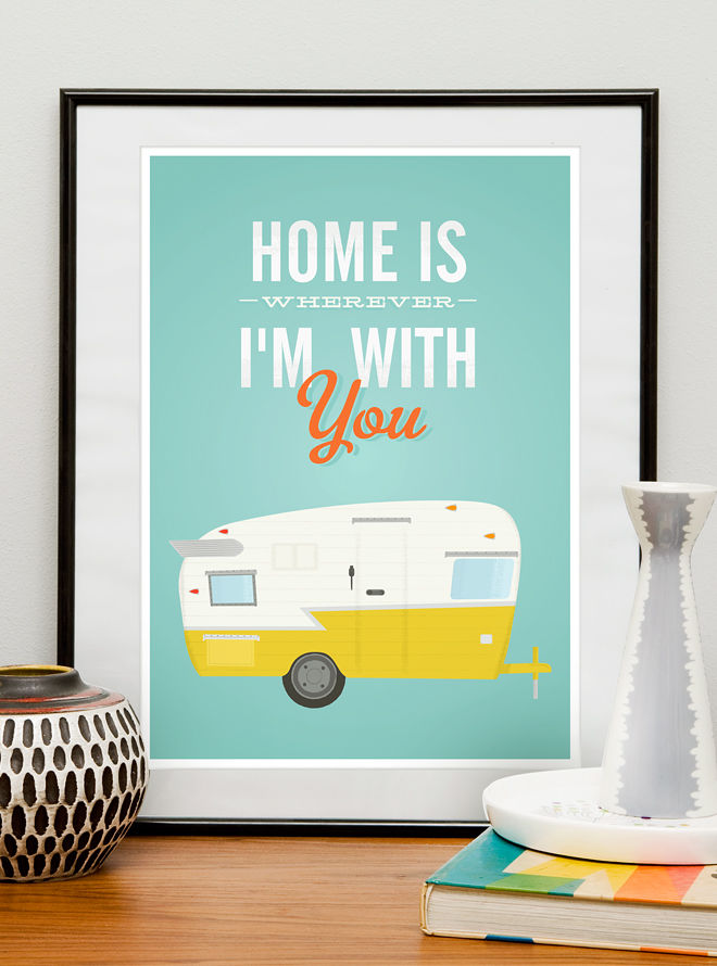 Shasta trailer print, Inspirational quote print, Retro poster - product image