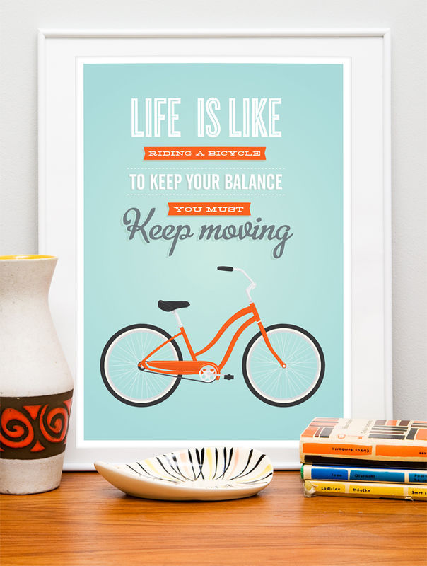 Life is like riding a bicycle print, Quote art print,  Retro poster - product images