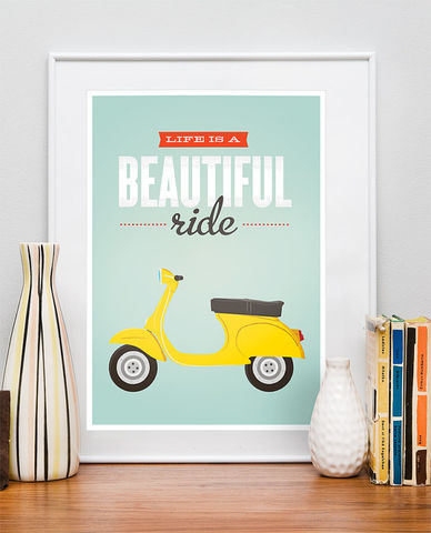 Life,is,a,beautiful,ride,poster,,Vespa,bike,print,,inspirational,quote,print,Quote print, vespa bike poster, bicycle print, retro poster, colorful home decor, inspirational quote, motivational quote print, retro wall art, mid century modern poster, boho chic art, turquoise art, positive wall print, scandinavian design,