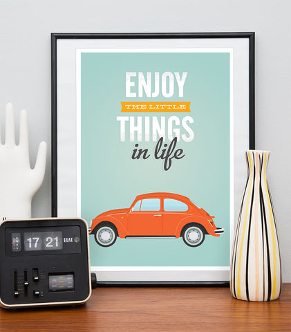 VW,beetle,print,,Inspirational,quote,retro,car,poster,Quote print, vw beetle poster, bicycle print, retro poster, colorful home decor, inspirational quote, motivational quote print, retro wall art, mid century modern poster, boho chic art, turquoise art, positive wall print, scandinavian design, enjoy the li