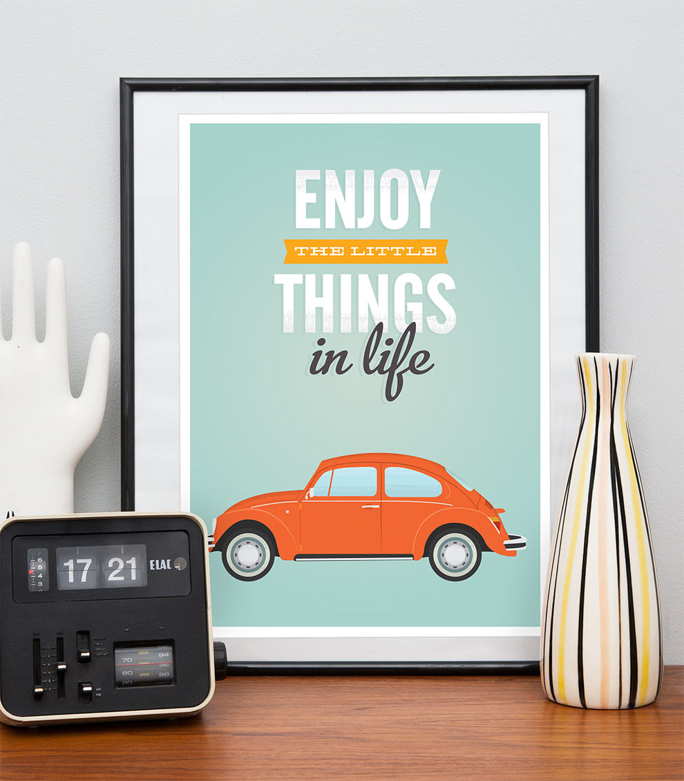 VW beetle print, Inspirational quote print, retro car poster - product image