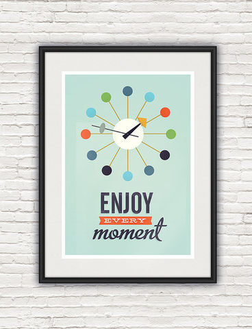 Inspirational,quote,print,,Mid,century,modern,poster,,George,Nelson,clock,print,Quote print, george nelson, retro poster, colorful home decor, inspirational quote, motivational quote print, retro wall art, mid century modern poster, boho chic art, turquoise art, positive wall print, scandinavian design, clock,
