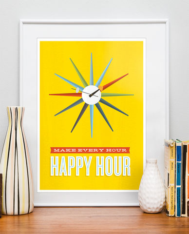 Motivational,quote,print,,Inspirational,retro,poster,,George,Nelson,clock,print,Quote print, george nelson, retro poster, colorful home decor, yellow art, happy quote, inspirational quote, motivational quote print, retro wall art, mid century modern poster, boho chic art, turquoise art, positive wall print, scandinavian design, clock