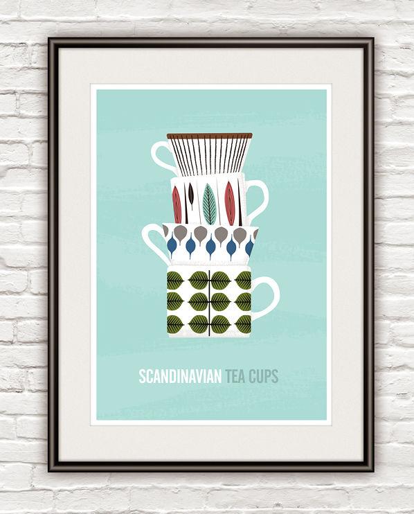 Stig Lindberg Kitchen Poster, Tea Cups Print, Scandinavian Art   ReStyle  Shop