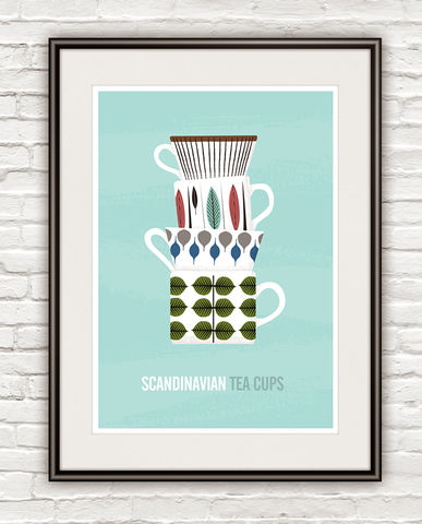 Stig,Lindberg,kitchen,poster,,Tea,cups,print,,Scandinavian,art,Kitchen decor, kitchen print, home decor, scandinavian poster, stig lindberg, cathrineholm, scandinavian design, retro poster, retro kitchen art, colorful art, quote print, inspirational art, motivational print, eames poster, tea poster, cooking art, tea