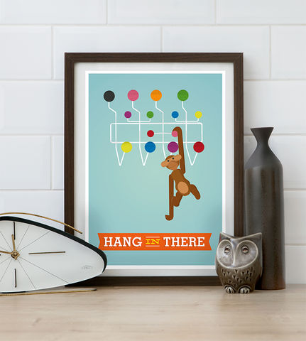 Hang,in,there,quote,print,,Kaj,Bojesen,monkey,poster,,Mid,century,modern,art,Quote print, george nelson, retro poster, colorful home decor, inspirational quote, motivational quote print, retro wall art, mid century modern poster, boho chic art, turquoise art, kaj bojesen, kaj bojesen monkey, hang in there quote,  positive wall pri