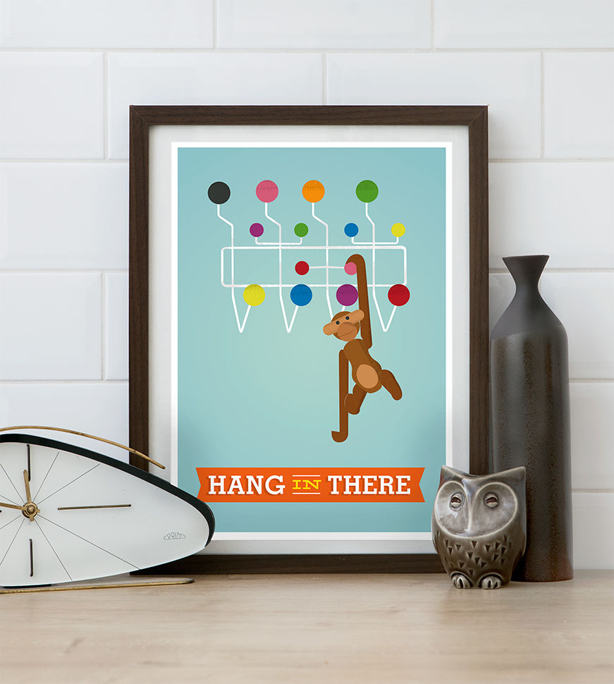 Hang in there quote print, Kaj Bojesen monkey poster, Mid century modern art - product image