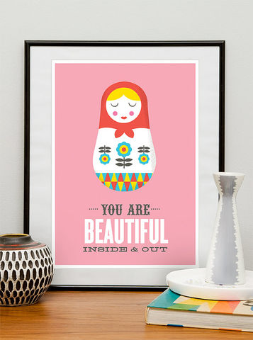 Matryoshka,print,,Quote,poster,,Pink,nursery,art,,Russian,doll,print,Quote print, matryoshka print,  russian doll print, pink wall art, retro poster, colorful home decor, inspirational quote, motivational quote print, retro wall art, mid century modern poster, boho chic art, turquoise art, positive wall print, scandinavian